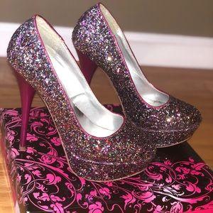 Glitter pink heels